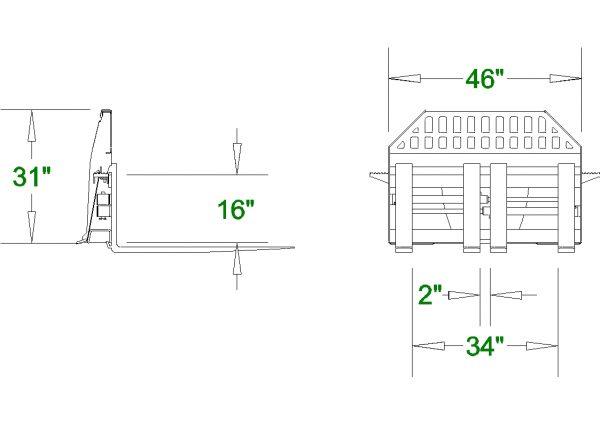 Skid Steer Hydraulic Pallet Forks Frame Spec